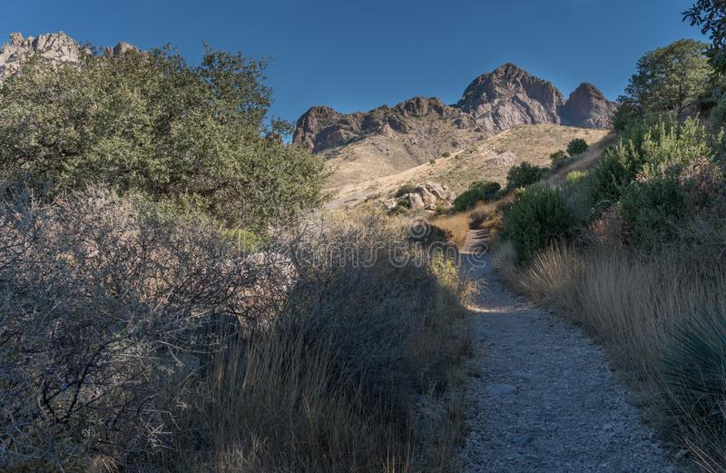 The Fillmore trail and Organ Mountains in New Mexico. stock photography