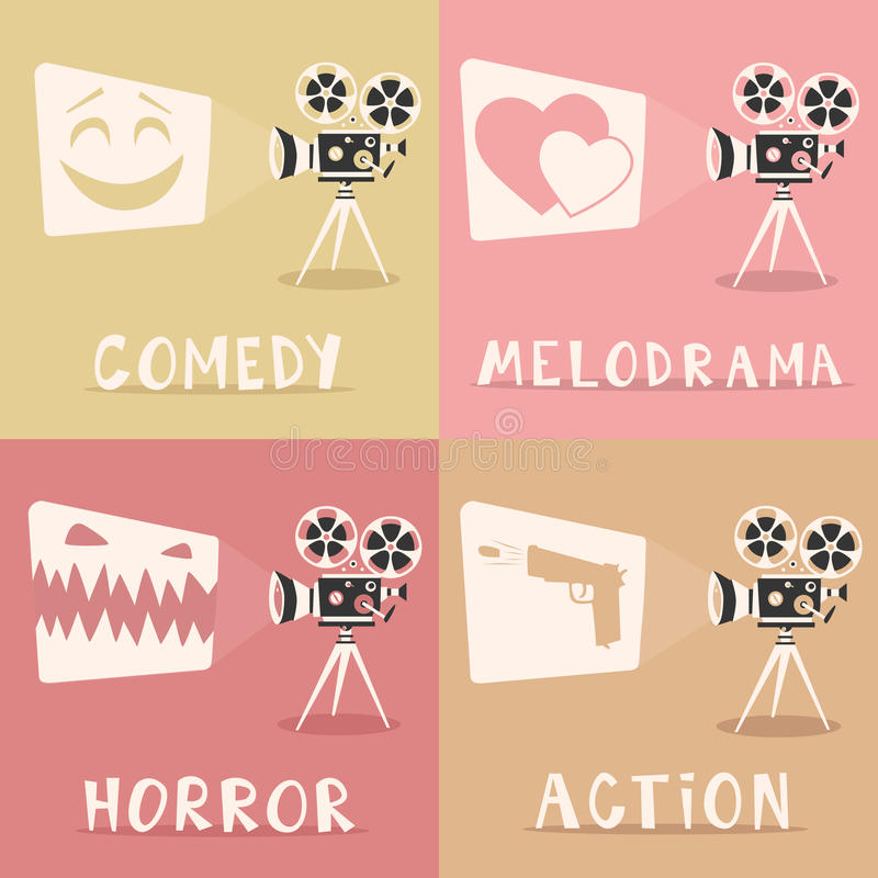 Filmów gatunki plakatowi obcy kreskówki kota ucieczek ilustraci dachu wektor Ekranowy projektor i popkorn royalty ilustracja