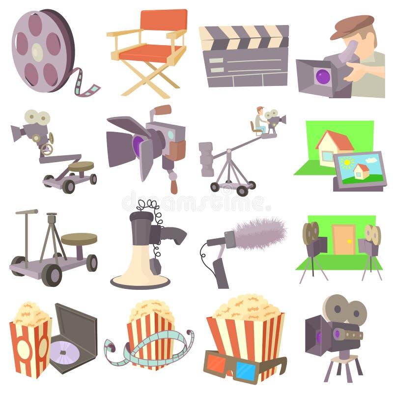 Filmów symboli/lów kinowe ikony ustawiać, kreskówka styl ilustracja wektor