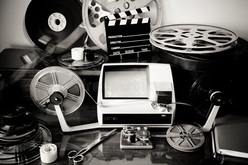 Film éditant le bureau de vintage photo stock