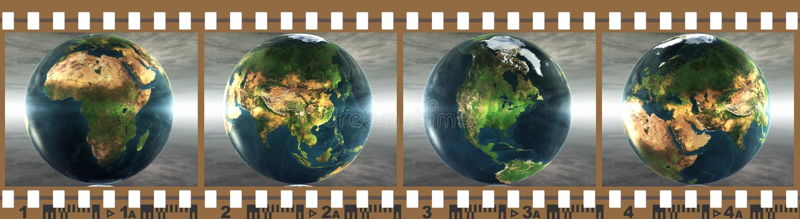 Download Film With 4 Images Of The Earth Stock Illustration - Illustration of images, border: 12035498