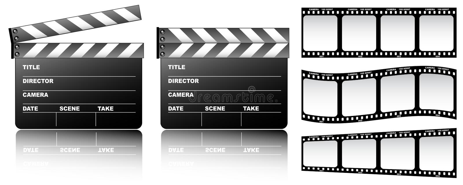 Film. And clapboard on the white background stock illustration