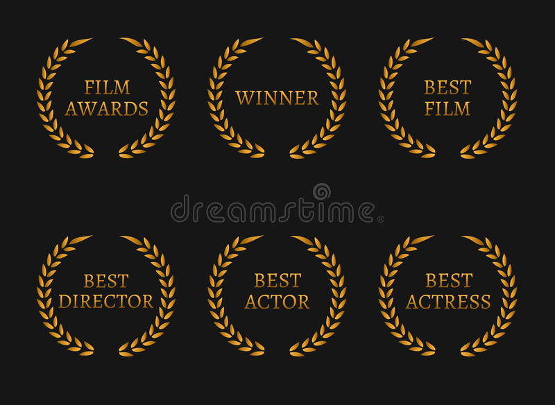 Film academy awards winners and best nominee gold wreaths on black background. Vector illustration vector illustration