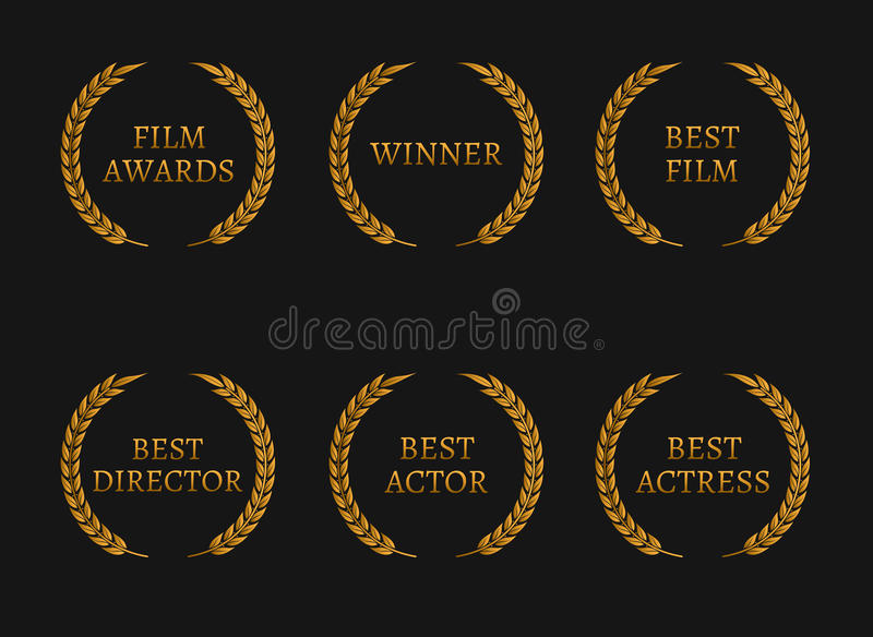 Film academy awards winners and best nominee gold wreaths on black background. Vector illustration royalty free illustration