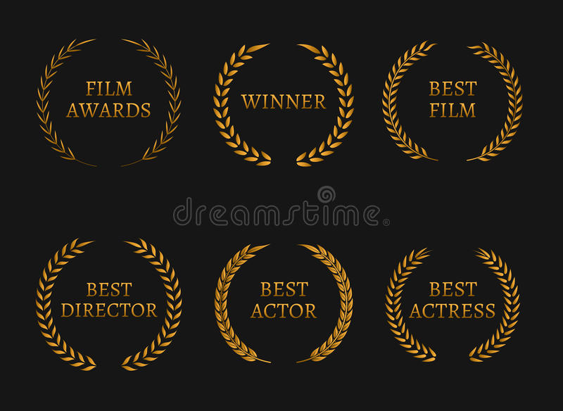 Film academy awards winners and best nominee gold wreaths on black background. Vector illustration stock illustration