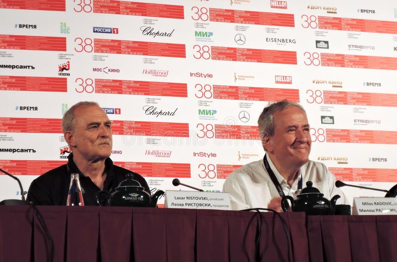 Film actor and producer Lazar Ristovski. Serbian film actor and producer Lazar Ristovski at left and film director Milos Radovic at press-conference of the movie royalty free stock photo