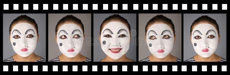 Film avec le pantomime émotif photographie stock libre de droits