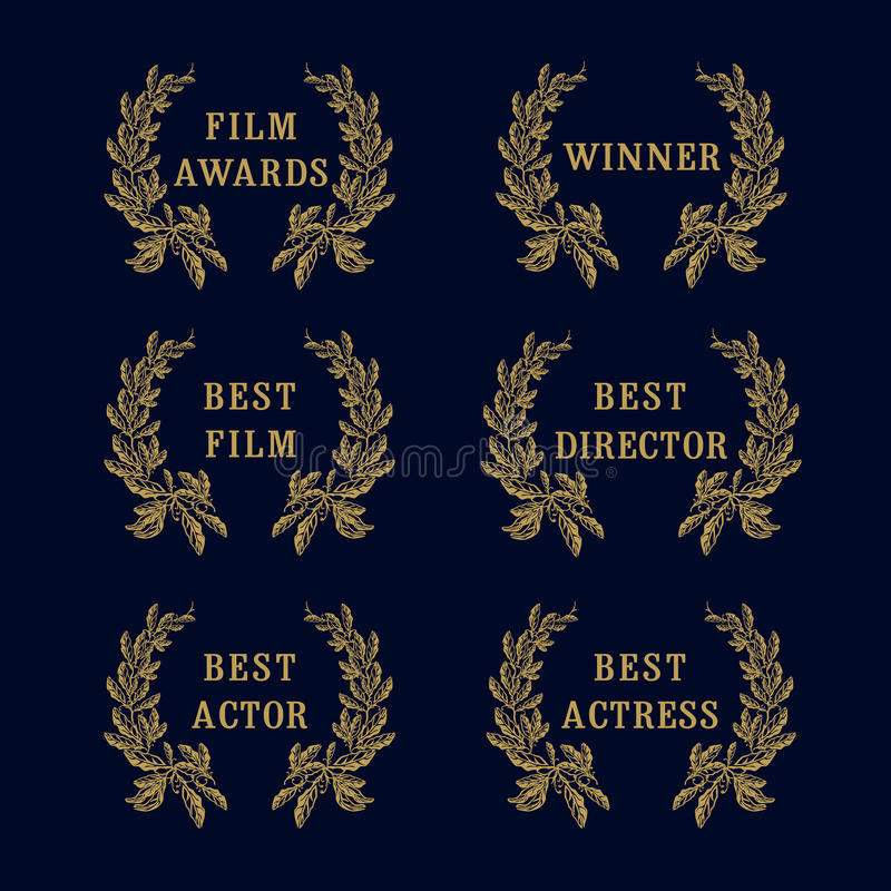 Film awards laurel logo. Set of awards greetings, palms frame logotype. Luxurious premium isolated celebrating congratulating arts branches, round template, dark vector illustration