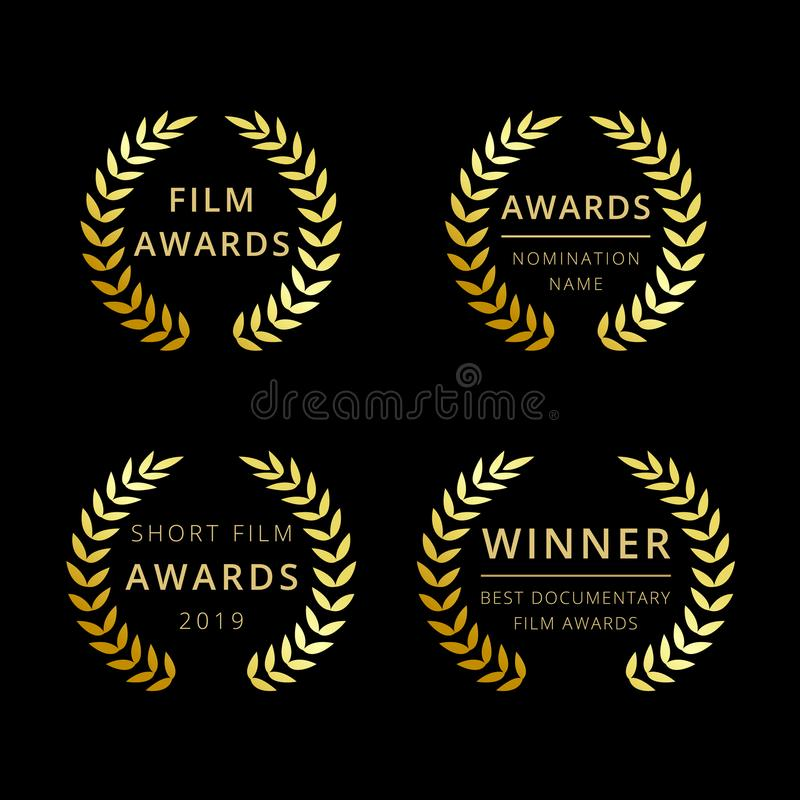 Film awards logotype. Isolated elegant abstract gold gradient emblem. Luxurious congratulating framed template, prize. Celebrating decorative traditional royalty free illustration