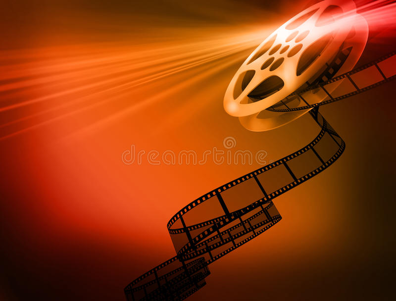 Film background. Reel of 35mm motion picture film royalty free illustration
