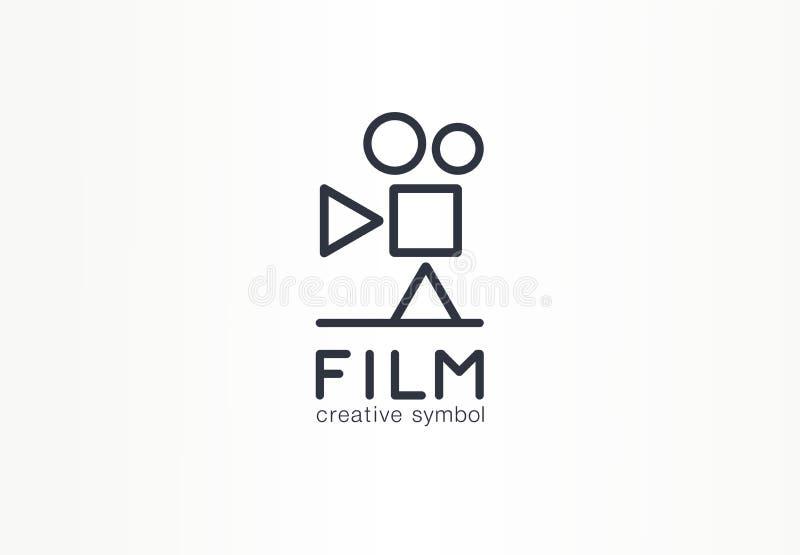 Film begrepp för symbol för filmbransch idérikt Spela, stoppa, stoppa knappen, abstrakt affärslogo för bio Tappningvideo stock illustrationer