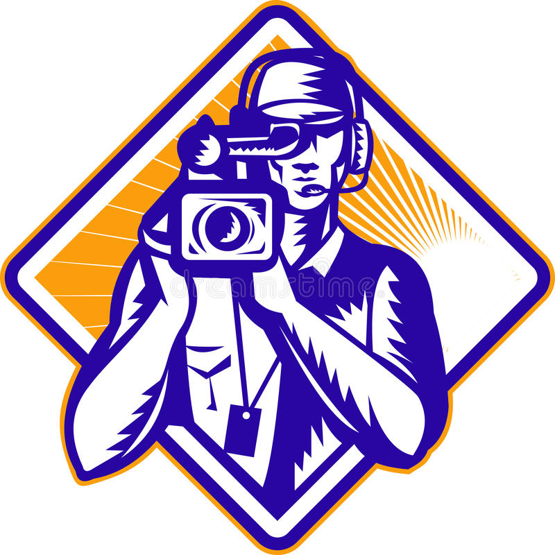 Film-Besatzung-Kameramann-Kamera Retro- lizenzfreie abbildung