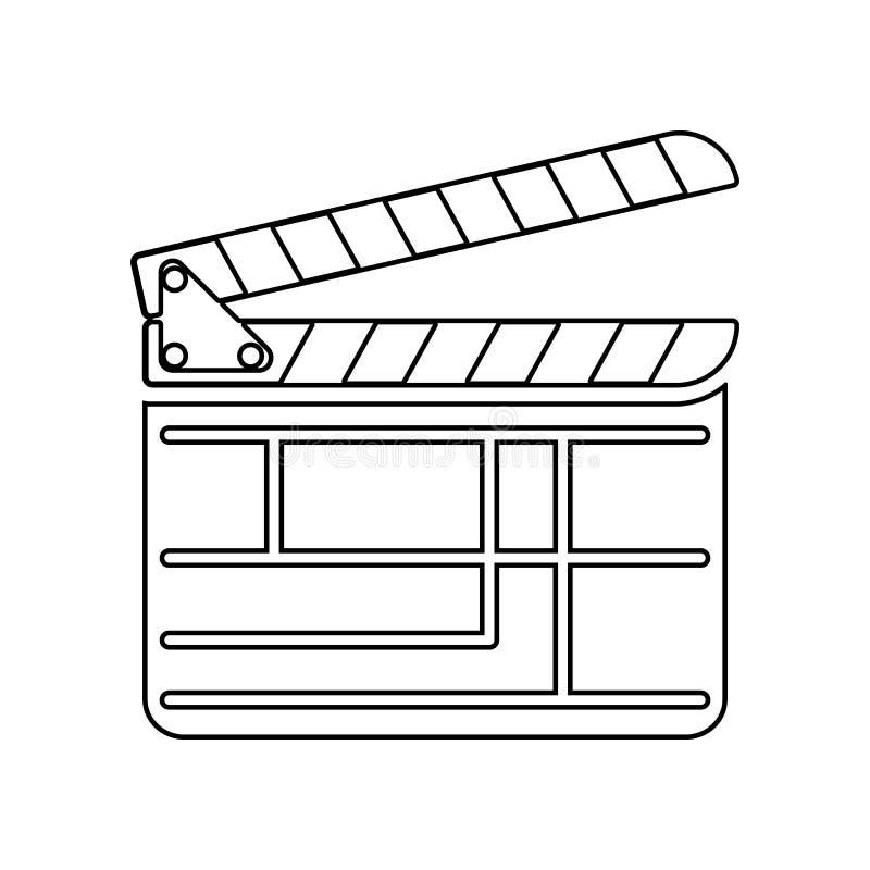 Film, bioskoop, filmsymbool E Overzicht, dun lijnpictogram voor website vector illustratie