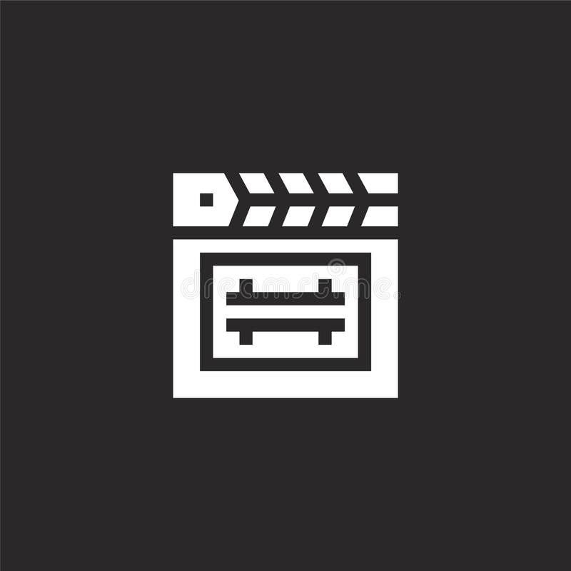 Film, bioskoop, filmsymbool Gevuld clapperboard pictogram voor websiteontwerp en mobiel, app ontwikkeling clapperboard pictogram  royalty-vrije illustratie