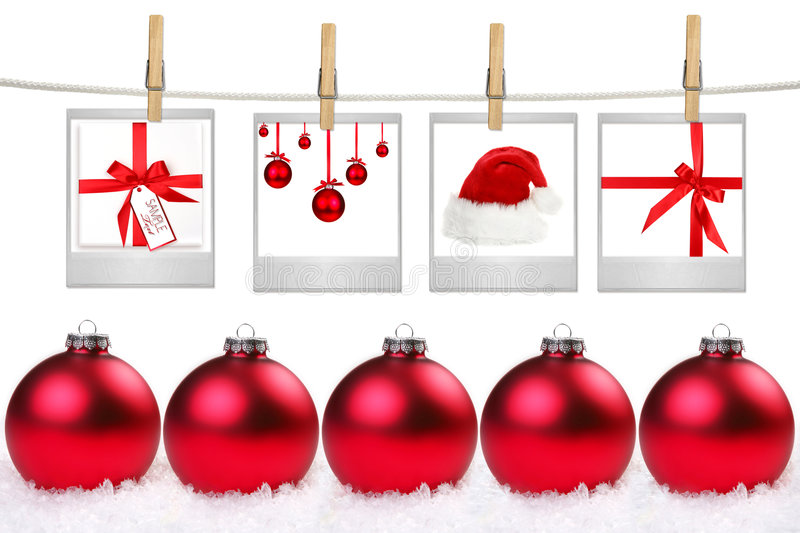 Film Blanks With Images of Christmas Themed Items. Hanging on a Rope By Clothespins royalty free stock photo