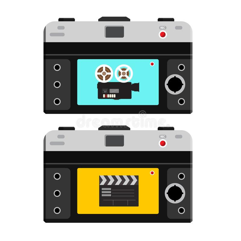Film Camera and Clapper Board on Back Side of Photo Camera. Footage Recording Icons. Vector Video Devices royalty free illustration