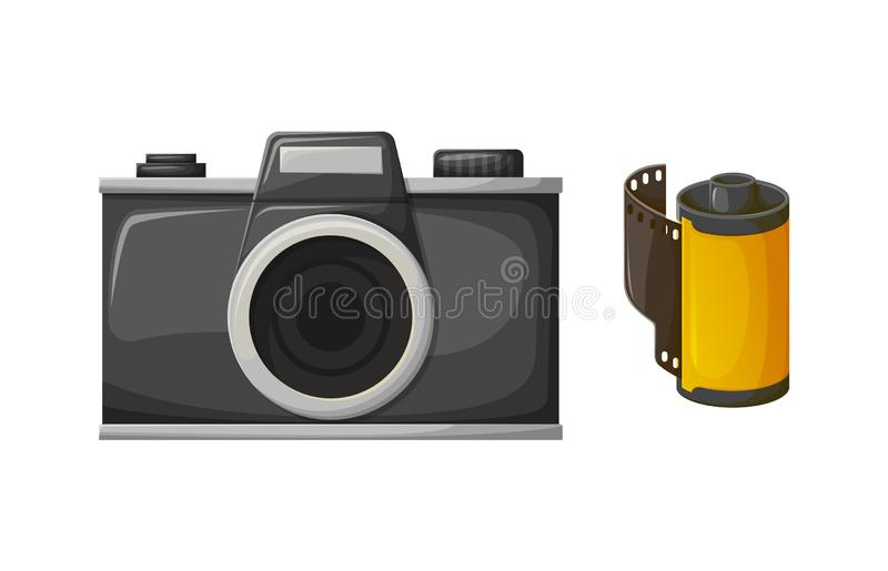 Retor Black Film Camera and Photo Roll Vector. Film camera and 3D reel, black shooting retro equipment and photo roll on white. Glossy colorful cinema technology royalty free illustration