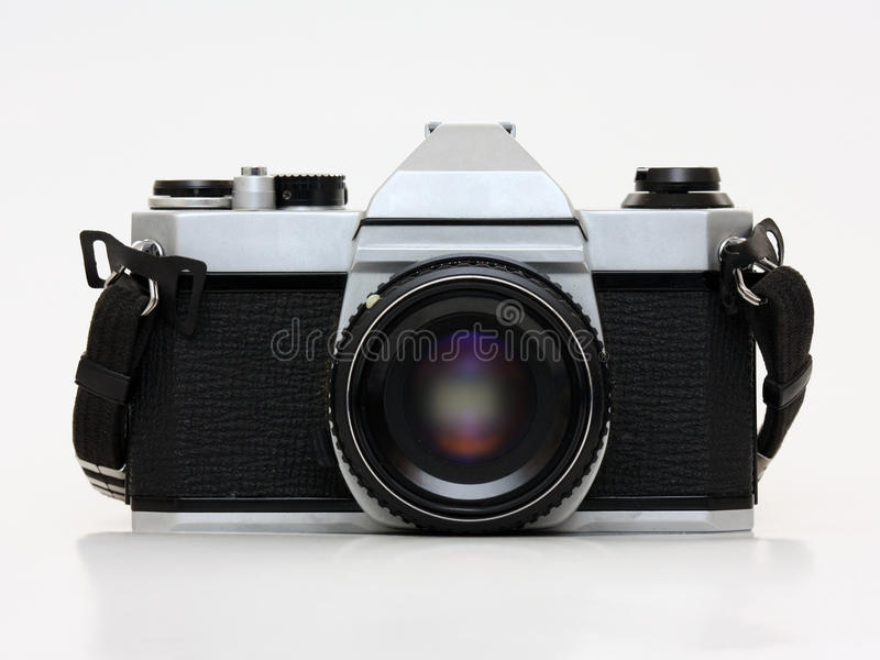 Film camera - front view. Front view of a film camera with a white background royalty free stock images