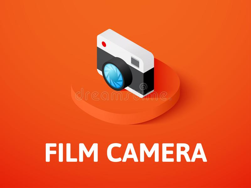 Film camera isometric icon, isolated on color background. Film camera icon, vector symbol in flat isometric style isolated on color background stock illustration