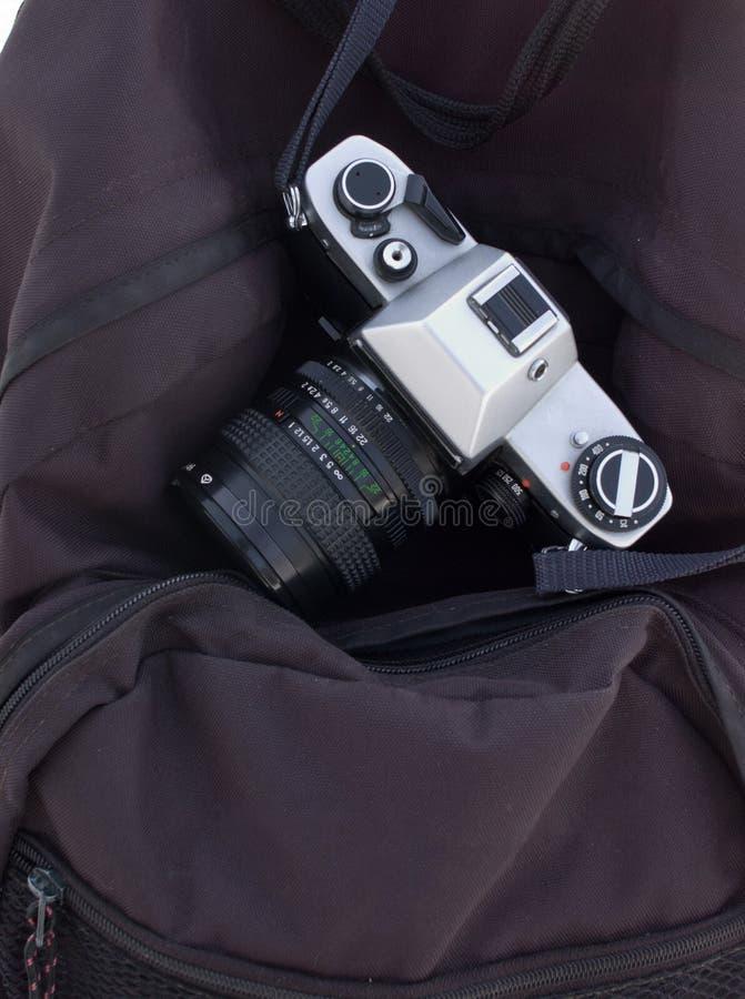 Film-camera op camera-zak stock afbeeldingen