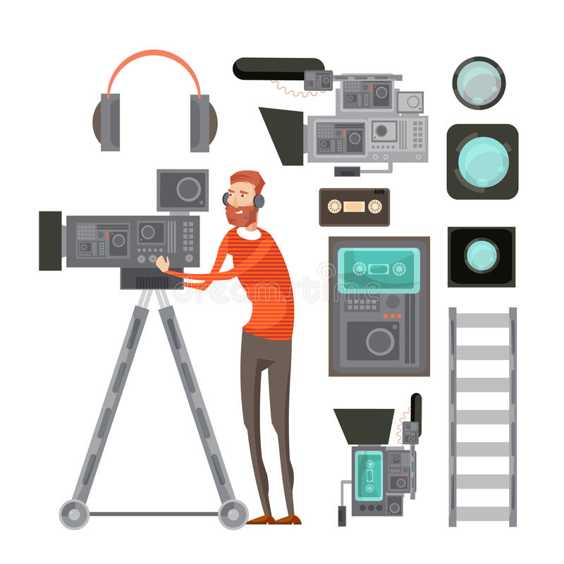 Film Cameraman With Video Equipment. Including tape headphones filters for objective lens vhs player isolated vector illustration royalty free illustration