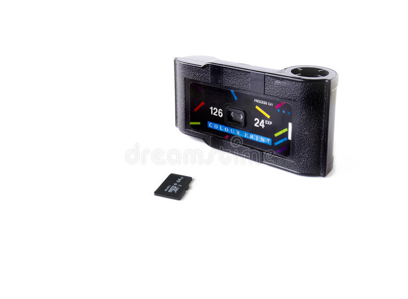 Film Cartridge and Micro SD Card stock photography