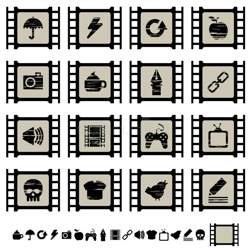 Film cell icons set 2. Set of black film cell application icons, set 2 vector illustration