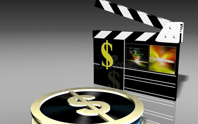 Film clap. Dollar and clap, , Dollar and clap royalty free illustration