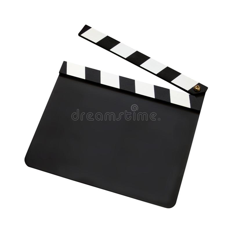 Film clap board. Isolated on white background stock image