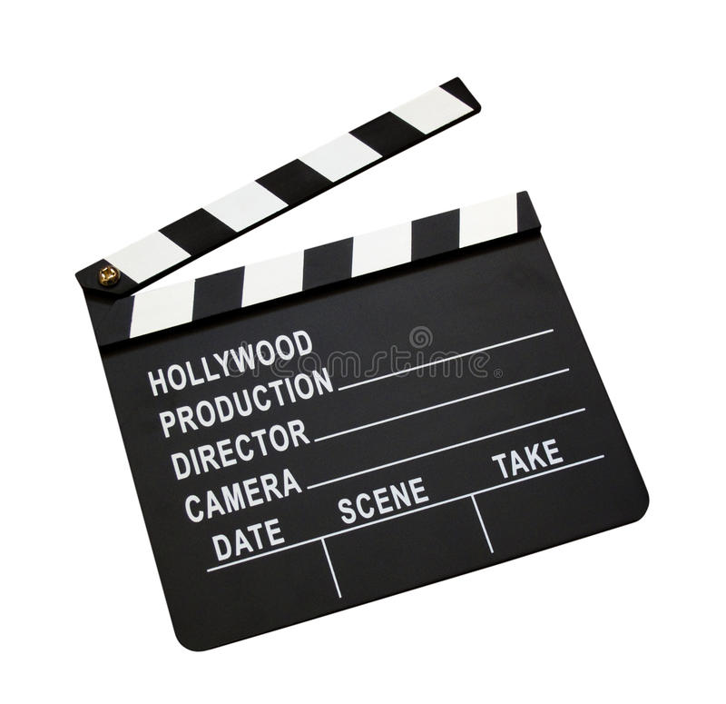 Film clap board. Isolated on white background royalty free stock images