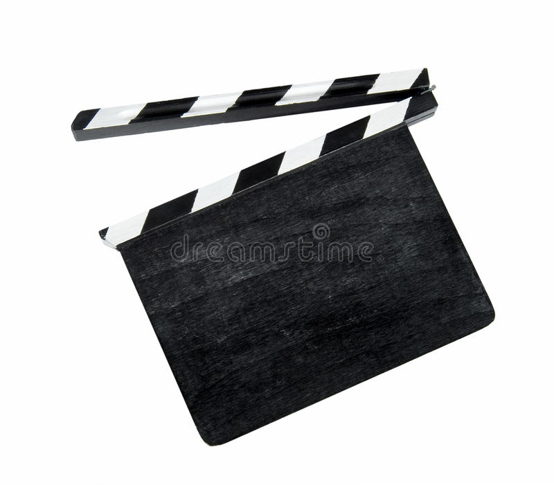 Film clap board. Isolated on white stock images