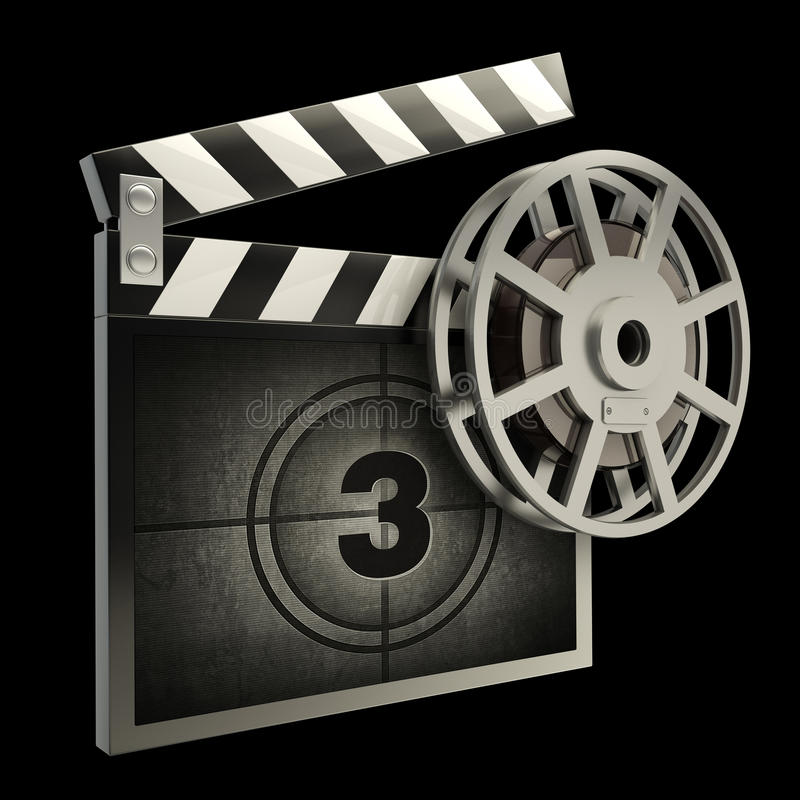 Film and clap board movies. Symbol closeup isolated on black. High resolution. 3D image vector illustration
