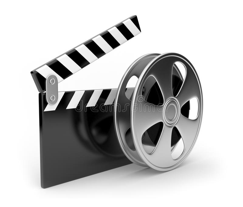 Film and clap board movies symbol 3d. On white background royalty free illustration