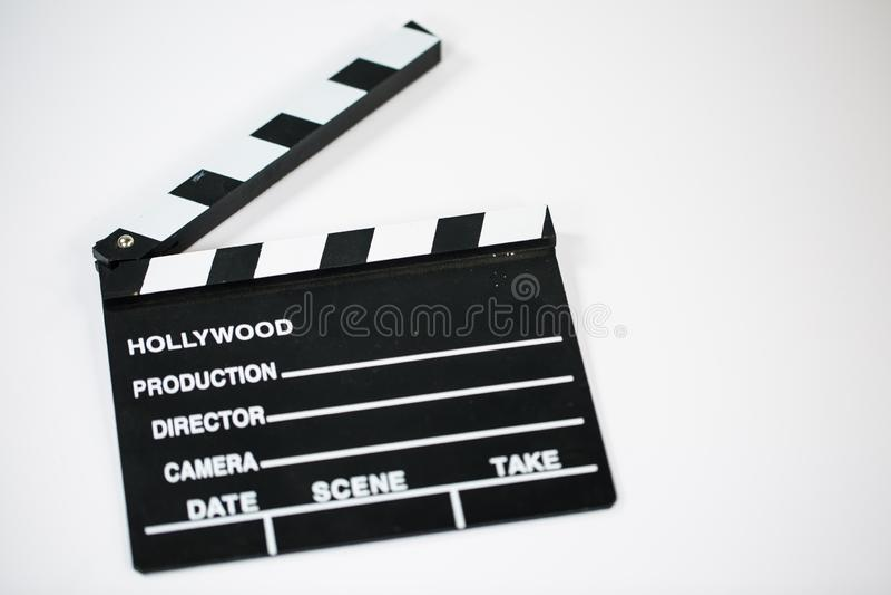 Film clap on white background. Cinema royalty free stock image