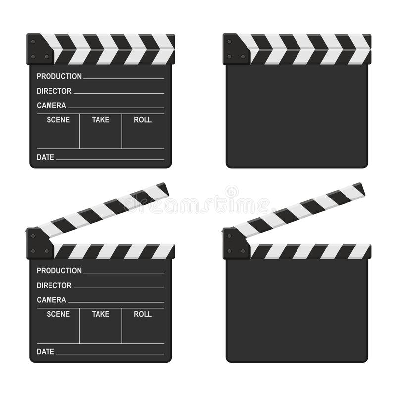 Film clapper board set isolated on white background. Blank movie clapper cinema royalty free illustration