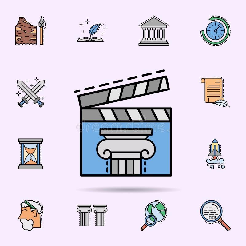 film clapperboard, historia, film, biosymbol E stock illustrationer