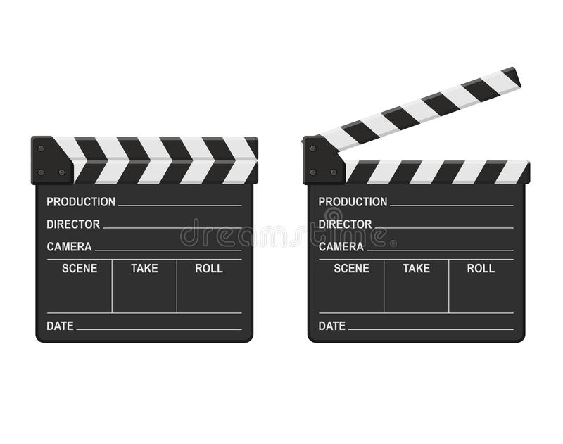 Film clappers boards isolated on white background. Blank movie clapper cinema stock illustration