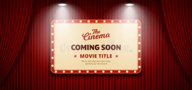 Film Coming Soon w filmie. Stary, klasyczny billboard teatralny na czerwonym teatrze sceny zasłony z ilustracja wektor