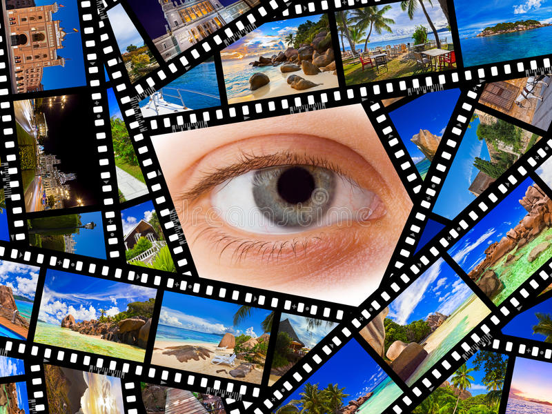 Film con le foto e l'occhio di viaggio fotografie stock