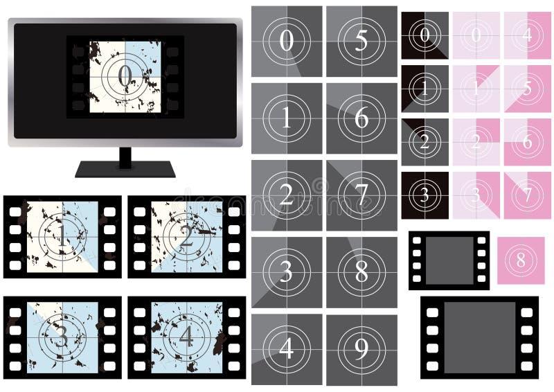 Film-Count-down-Bildschirm Grunge_eps lizenzfreie abbildung