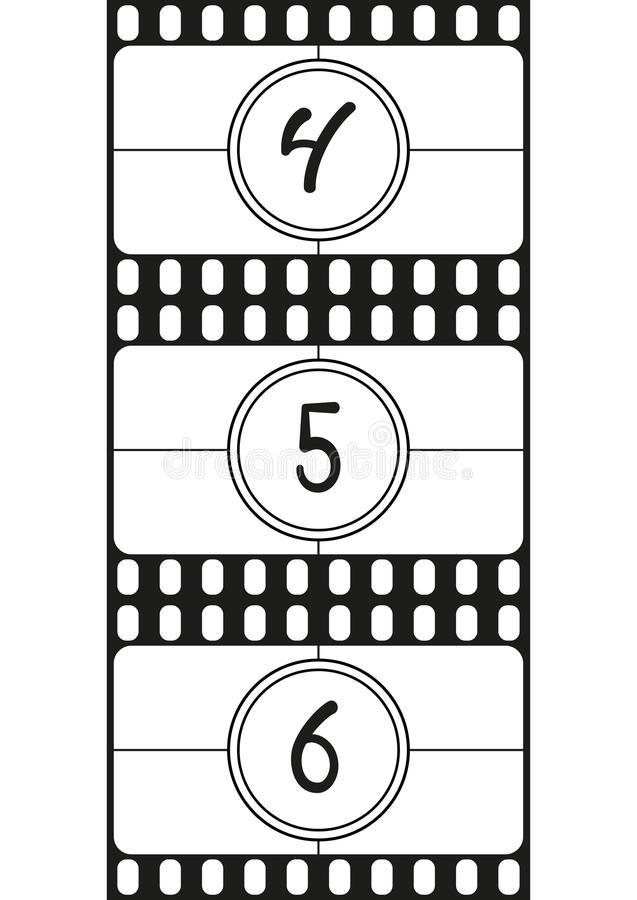 Film Countdown: Film Countdown Numbers, Hand Drawing Digits, Vector