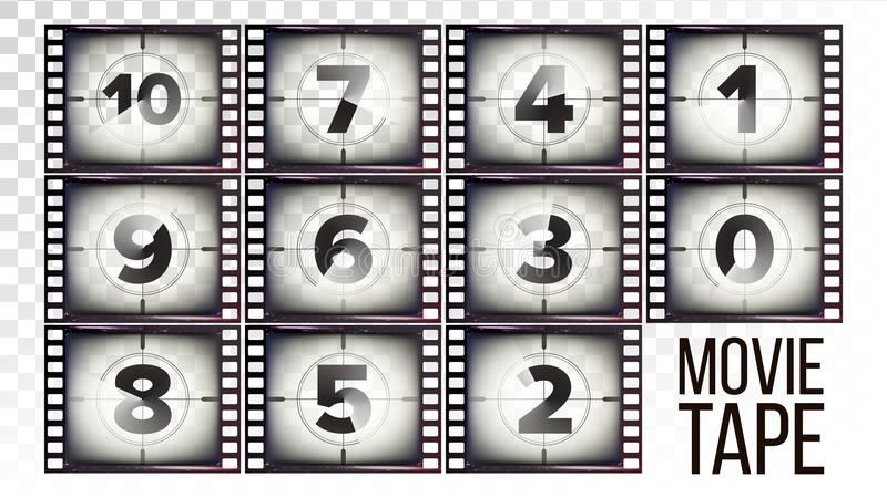 Movie Tape Countdown Vector. Monochrome Brown Grunge Film Strip. From Ten To Zero. Isolated On Transparent Background vector illustration