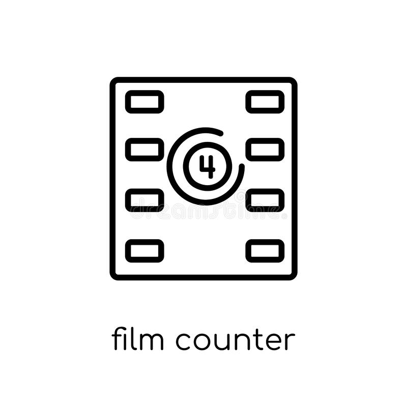 Film counter icon. Trendy modern flat linear vector Film counter vector illustration