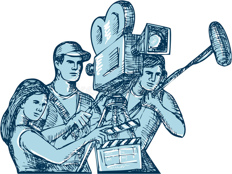 Film Crew Clapperboard Cameraman Soundman Drawing. Drawing style illustration of a film crew cameraman soundman with clapperboard, microphone, video film camera stock illustration