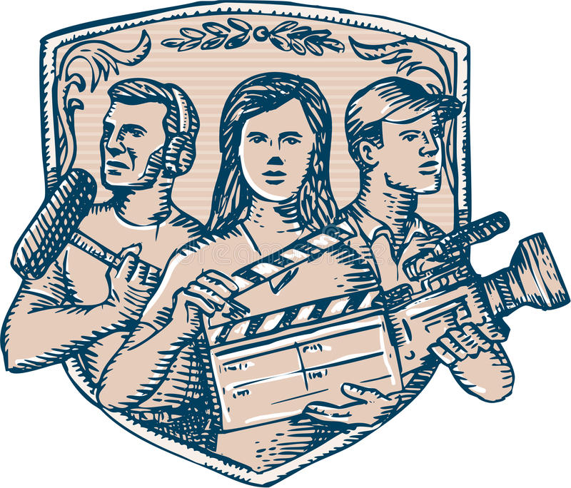 Film Crew Clapperboard Cameraman Soundman Etching. Etching engraving handmade style illustration of a film crew cameraman soundman with clapperboard, microphone stock illustration