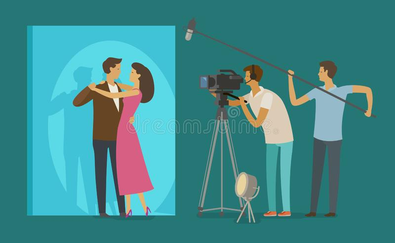 Film crew makes a movie. Cinematograph, cinema, filming concept. Cartoon vector illustration royalty free illustration