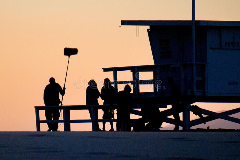 Film Crew preparing to film on the beach in Los Angeles royalty free stock photos