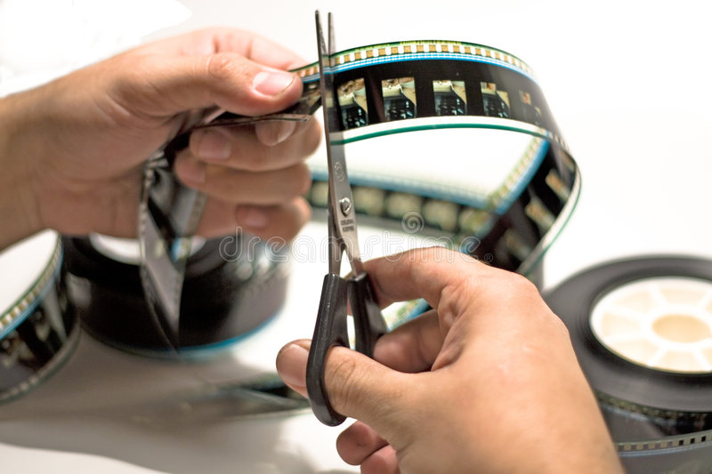 Film cutting royalty free stock photography
