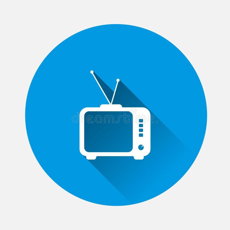 Film d'icône vectoriel 18+ Symbole de restriction d'âge sur fond bleu Image plane avec ombre longue illustration libre de droits