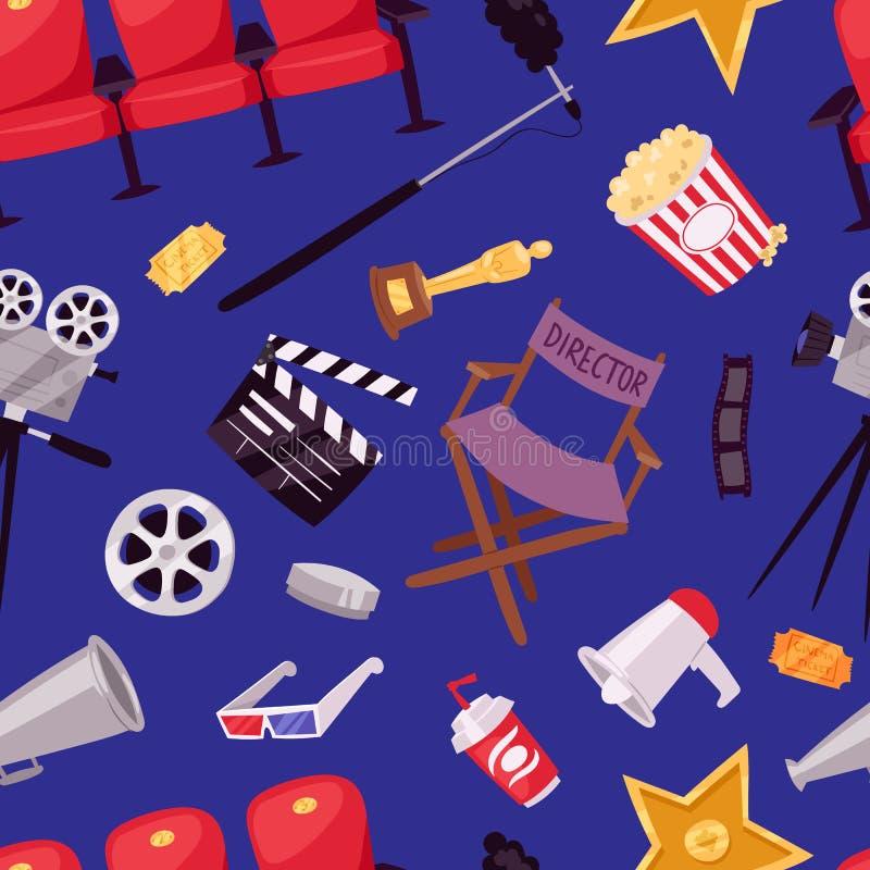 Film de cinéma faisant à vecteur d'icônes de symboles d'outils d'équipement d'émission de TV l'illustration réglée illustration libre de droits